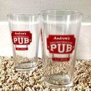 🔹3/$20 Brookstone Custom Pub Glasses | Set of 2 🍺